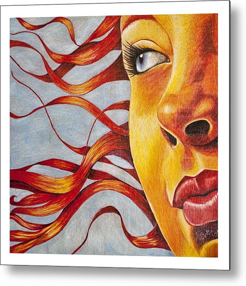 Portrait Metal Print featuring the drawing New Mexico Grrl by Annalisa Snow