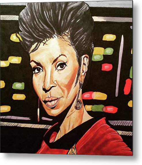 Portrait Metal Print featuring the drawing Uhura by Russell Boyle