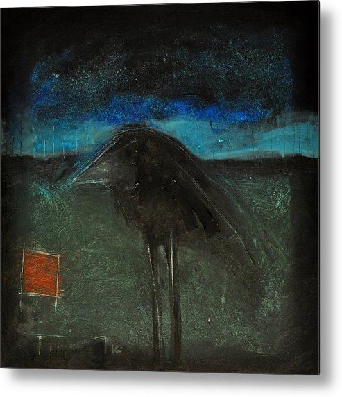 Bird Metal Print featuring the painting Night Bird With Red Square by Tim Nyberg