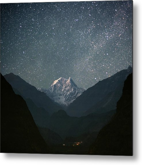 Square Metal Print featuring the photograph Nilgiri South (6839 M) by Anton Jankovoy