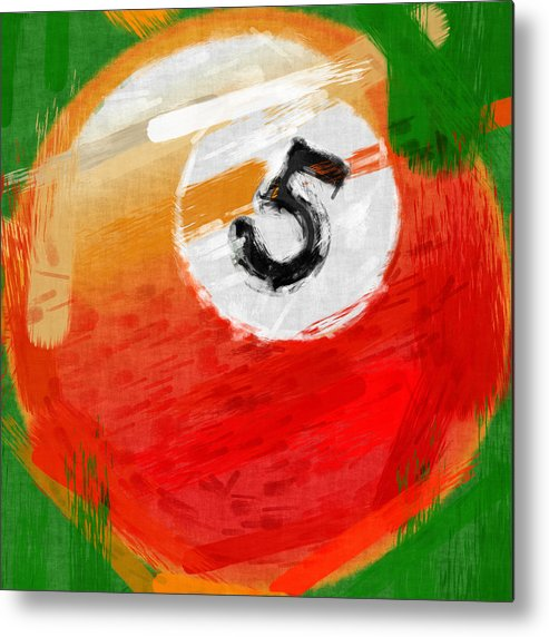 Five Metal Print featuring the photograph Number Five Billiards Ball Abstract by David G Paul