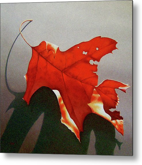 Leaf Metal Print featuring the painting Oak Leaf 1 by Timothy Jones
