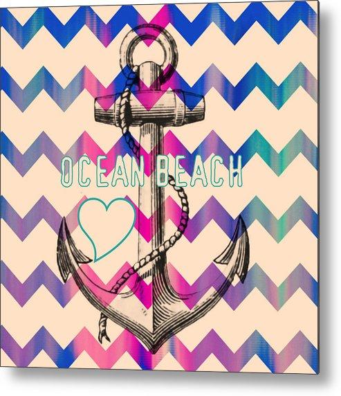 Brandi Fitzgerald Metal Print featuring the digital art Ocean Beach Anchor by Brandi Fitzgerald