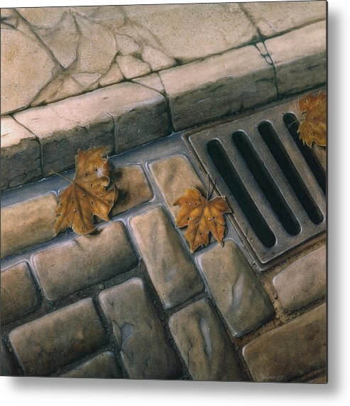 Street Metal Print featuring the painting October Leaves by Laine Garrido