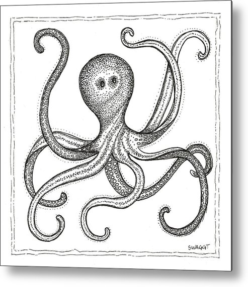 Octopus Metal Print featuring the drawing Octopus by Stephanie Troxell
