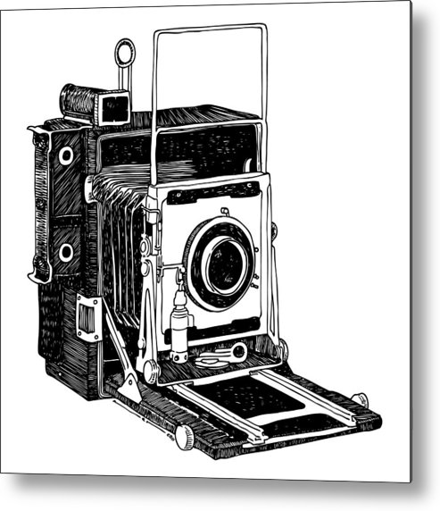 Drawing Metal Print featuring the drawing Old Timey Vintage Camera by Karl Addison