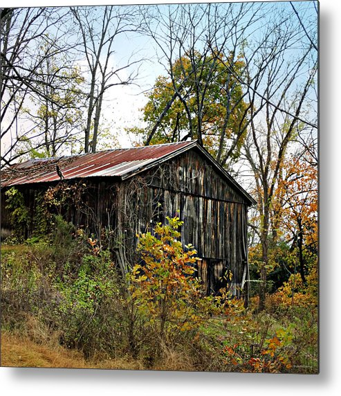 Old Tobacco Barn Metal Print featuring the photograph Old Tobacco Barn by Brenda Conrad