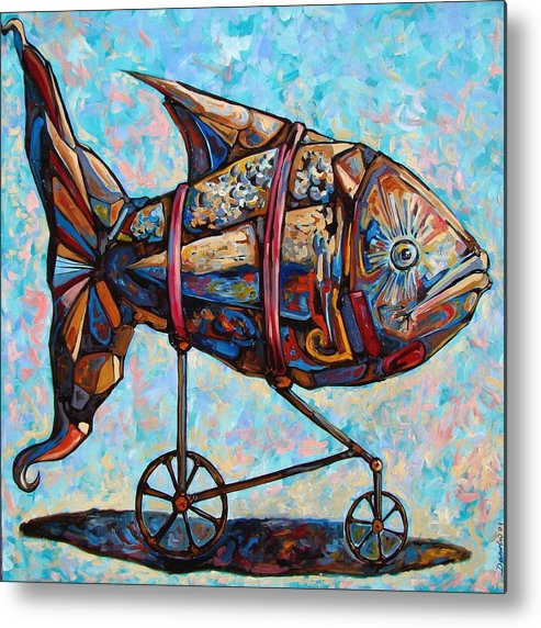 Surrealism Metal Print featuring the painting On The Conquer For Land by Darwin Leon