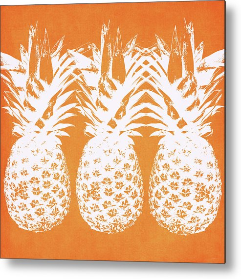Pineapple Metal Print featuring the painting Orange And White Pineapples- Art By Linda Woods by Linda Woods