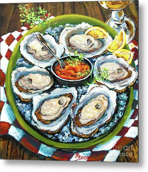 Oysters Metal Print featuring the painting Oysters On The Half Shell by Dianne Parks