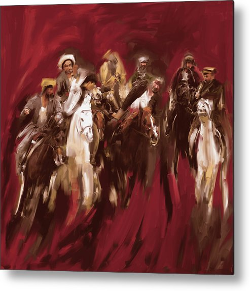 Horse Metal Print featuring the painting Painting 799 2 Buzkashi by Mawra Tahreem