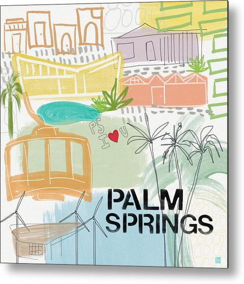 Palm Springs California Metal Print featuring the painting Palm Springs Cityscape- Art By Linda Woods by Linda Woods