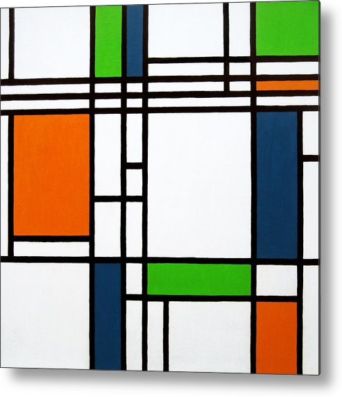Squares Metal Print featuring the painting Parallel Lines Composition With Blue Green And Orange In Opposition by Oliver Johnston