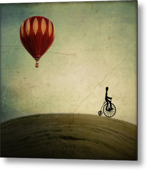 Hot Air Balloon Metal Print featuring the photograph Penny Farthing For Your Thoughts by Irene Suchocki