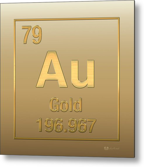 Periodic Table Of Elements - Gold - Au - Gold On Gold Metal Print by ...