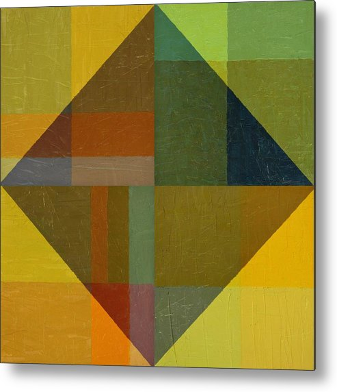 Abstract Metal Print featuring the painting Perspective In Color Collage 8 by Michelle Calkins