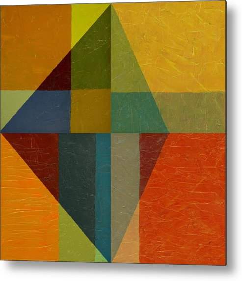 Abstract Metal Print featuring the painting Perspective In Color Collage by Michelle Calkins