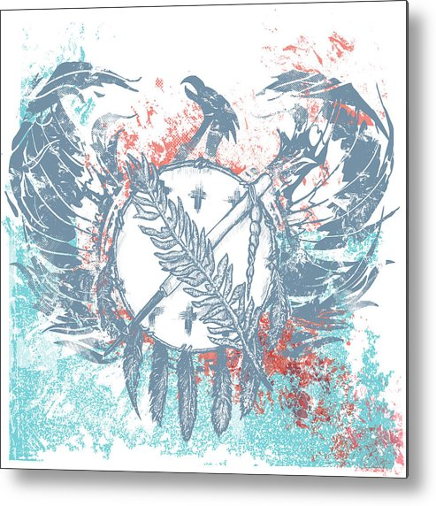 Chadlonius Metal Print featuring the drawing Phoenix by Chad Lonius