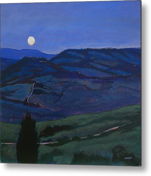 Italy Metal Print featuring the painting Pienza Moon by Robert Bissett