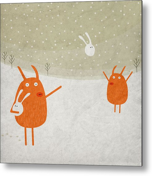Pig Metal Print featuring the digital art Pigs And Bunnies by Fuzzorama