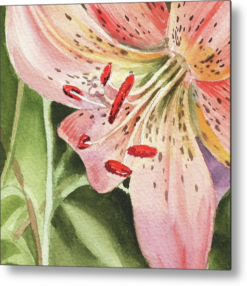 Tiger Lily Metal Print featuring the painting Pink Lily Close Up by Irina Sztukowski