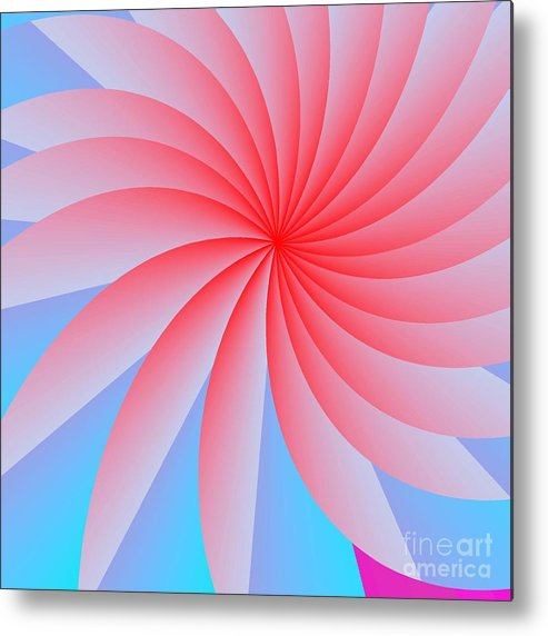 Abstract Metal Print featuring the digital art Pink Passion Flower by Michael Skinner