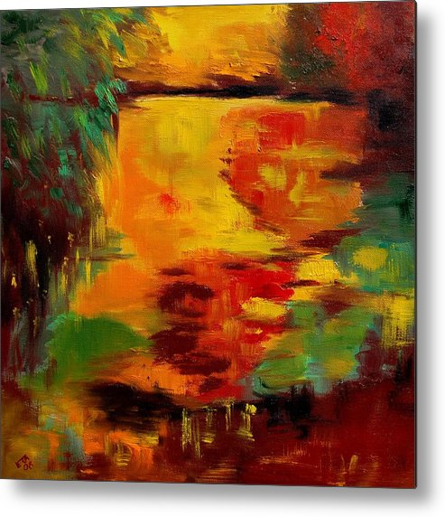 Pond Metal Print featuring the painting pOND 12 by Veronique Radelet
