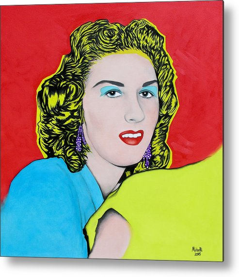 Portrait Metal Print featuring the painting Portrait Of My Mother by Joe Michelli