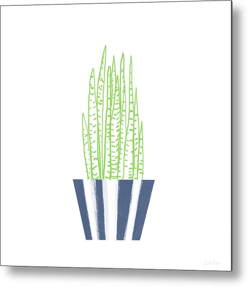 Plant Metal Print featuring the mixed media Potted Succulent 3- Art By Linda Woods by Linda Woods