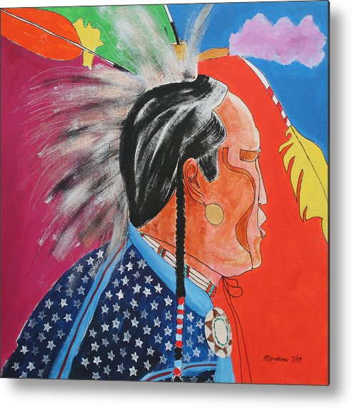 Native American Metal Print featuring the painting Pow Wow by Mordecai Colodner
