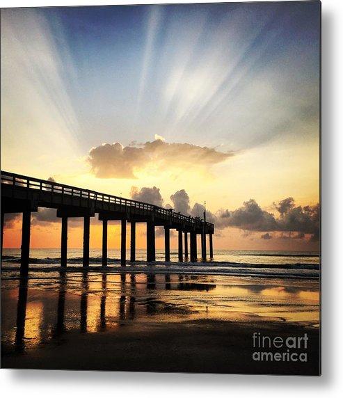 Sunrise. Pier Metal Print featuring the photograph Presence by LeeAnn Kendall