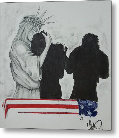Liberty Metal Print featuring the drawing Price Of Liberty by Howard King
