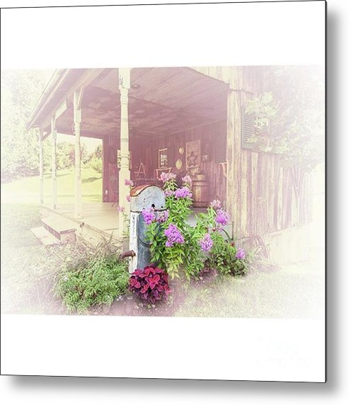 Ruralphotography Metal Print featuring the photograph Pump With Flowers Brazeau by Larry Braun