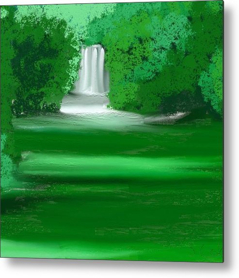 Waterfall Metal Print featuring the painting Punch Bowl Falls by Shelton coker jr