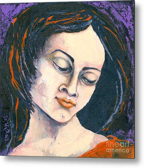 Canvas Prints Metal Print featuring the painting Quiet Contemplation by Elisabeta Hermann