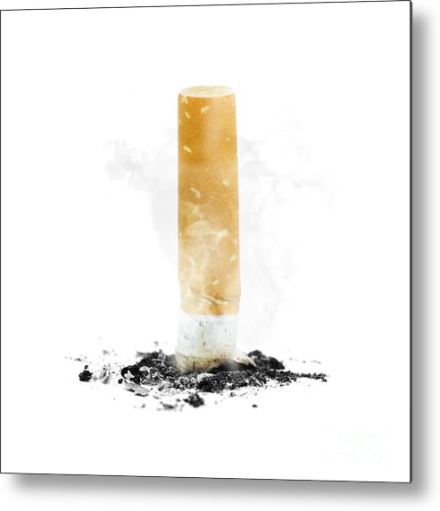 Abstain Metal Print featuring the photograph Quit Smoking With Stubbed Out Cigarette On White by Jorgo Photography - Wall Art Gallery