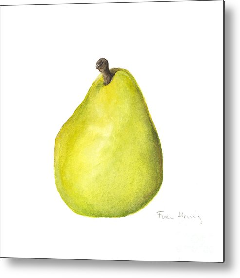 Square Paintings Metal Print featuring the painting Rachel's Pear by Fran Henig