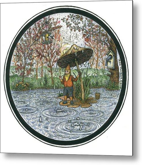 Rain Metal Print featuring the drawing Rain Gnome Rain Circle by Bill Perkins