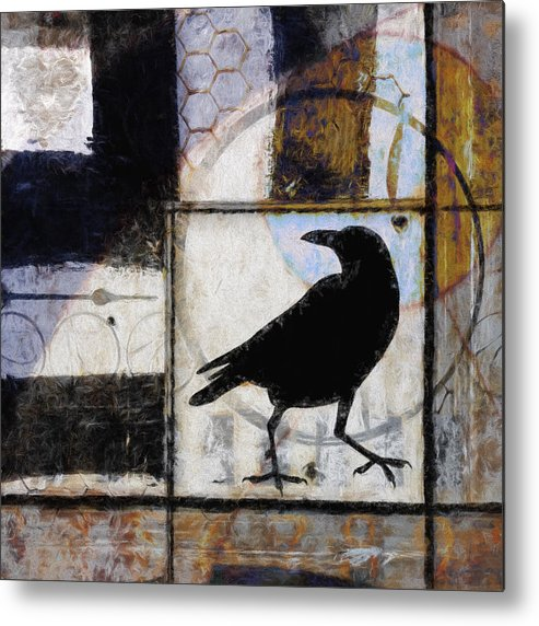 Raven Metal Print featuring the photograph Raven Ahead Of Time by Carol Leigh