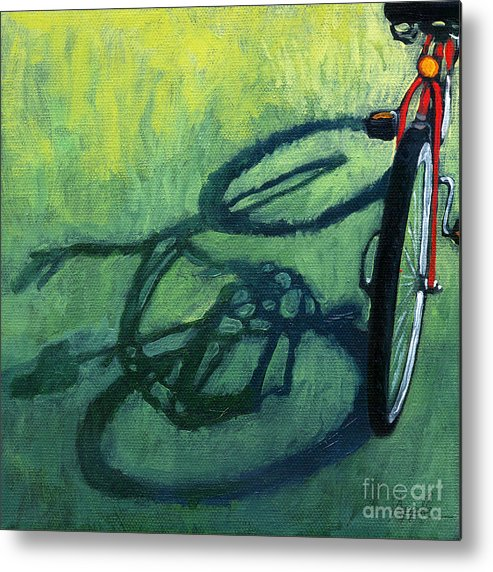 Bicycle Metal Print featuring the painting Red And Green - Bike Art by Linda Apple
