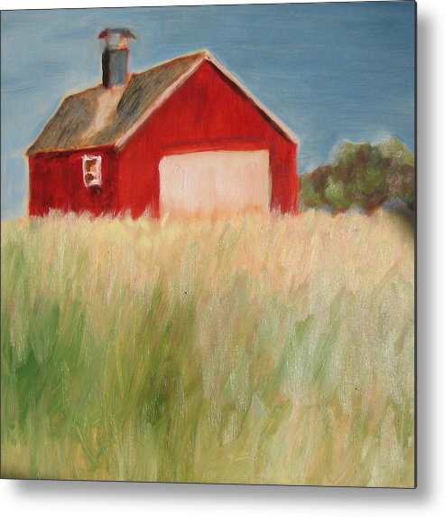 Barn Metal Print featuring the painting Red Barn by Claire Whitehead