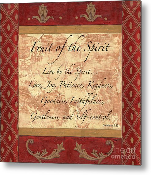 Fruit Of The Spirit Metal Print featuring the painting Red Traditional Fruit Of The Spirit by Debbie DeWitt