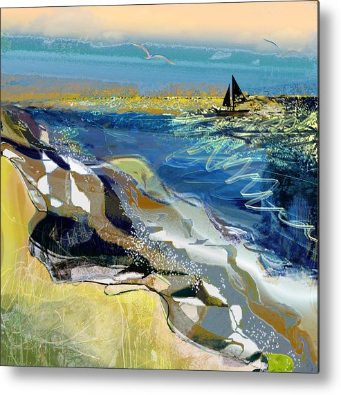 Sea Metal Print featuring the painting Rising Wind by Anne Weirich