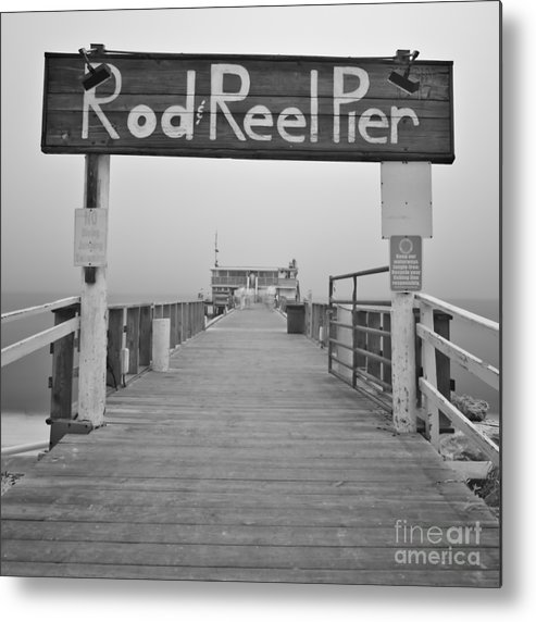 Rod And Reel Pier Metal Print featuring the photograph Rod And Reel Pier In Fog In Infrared 53 by Rolf Bertram