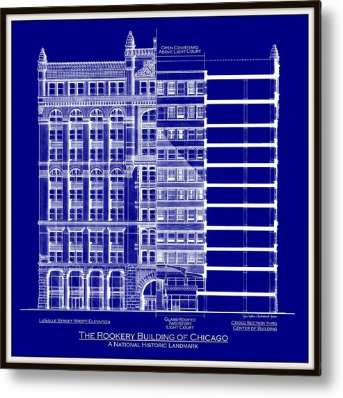 Rookery building chicago blueprint metal print by gene nelson architectural drawing metal print featuring the drawing rookery building chicago blueprint by gene nelson malvernweather Images