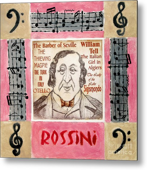 Rossini Metal Print featuring the mixed media Rossini Portrait by Paul Helm