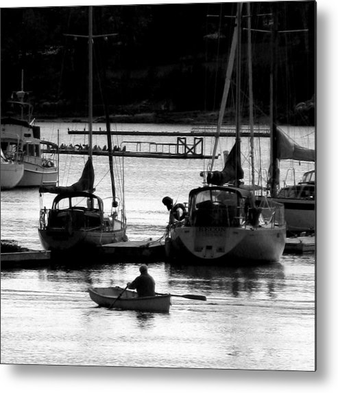 Docks Metal Print featuring the digital art Rowing To Shore by Donna Thomas