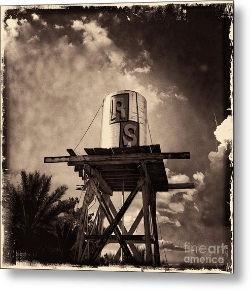 Iphoneography Metal Print featuring the photograph Rs Water Tower Sepia by Matt Suess