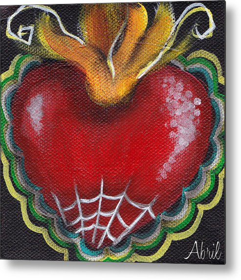 Sacred Heart Metal Print featuring the painting Sagrado Corazon 2 by Abril Andrade Griffith