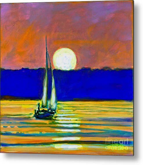 Sailboat Painting Metal Print featuring the painting Sailboat With Moonlight by Kip Decker